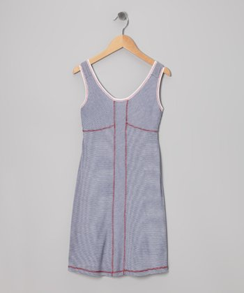 Me & Ko Navy & White Stripe Dress - Girls