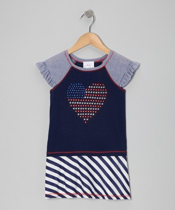 Me & Ko Navy Stripe Heart Flag Dress - Toddler & Girls