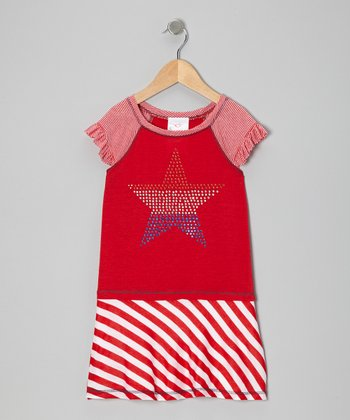 Me & Ko Red Stripe Star Dress - Toddler & Girls