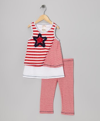 Me & Ko Red & White Stripe Star Tank & Capri Pants - Toddler & Girls
