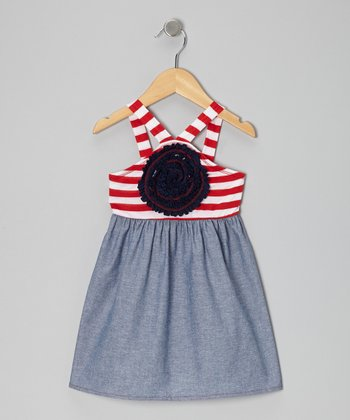 Me & Ko Red & Chambray Stripe Blooming Rose Dress - Toddler & Girls
