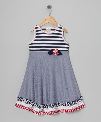 Me & Ko Navy & White Stripe Ruffle Swing Dress - Toddler & Girls