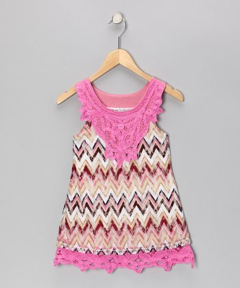 Pink Zigzag Lace Tunic - Girls