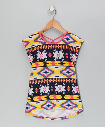 Coral & Yellow Tribal Tunic - Girls