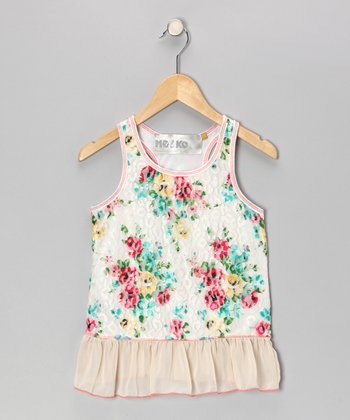 Ivory Floral Lace Ruffle Tunic - Girls