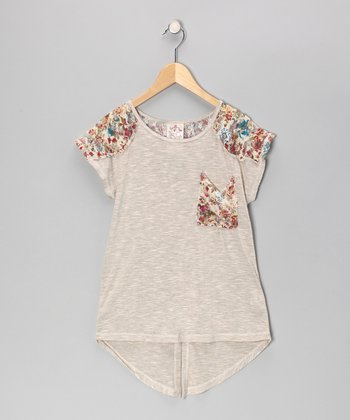Peach Floral Lace Pocket Tunic - Girls