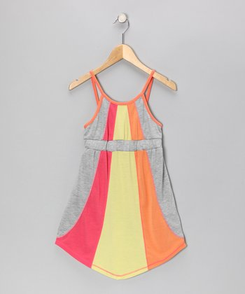Gray & Yellow Stripe Color Block Dress - Girls