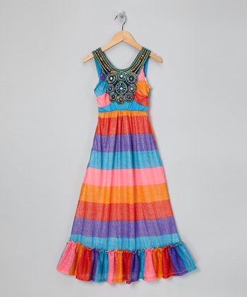 Red & Blue Stripe Beaded Maxi Dress - Girls