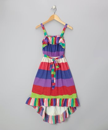 Purple & Blue Stripe Ruffle Maxi Dress - Girls