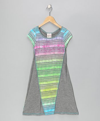 Gray Rainbow Stripe Dress - Girls