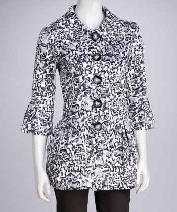White & Black Abstract Coat - Women