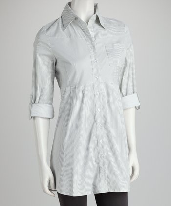 White Stripe Button-Up Top