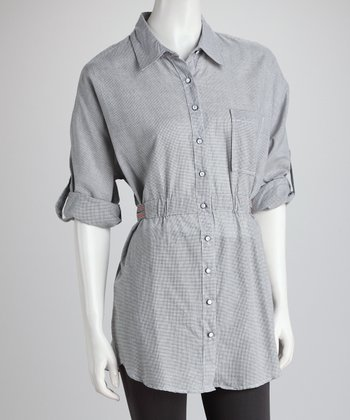 Gray Woven Shirred-Waist Button-Up