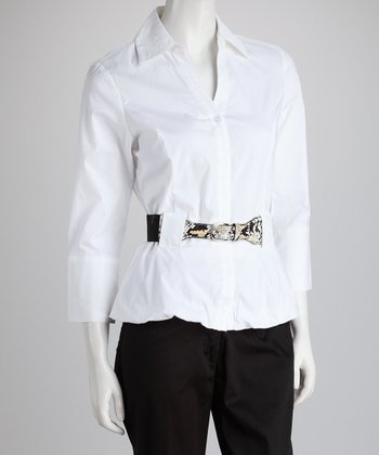 White Belted Button-Up Top