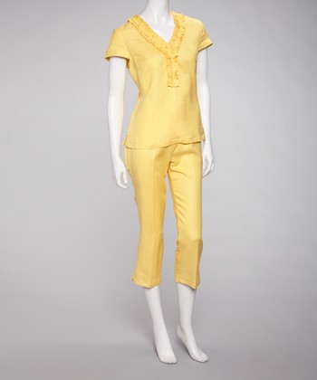 Yellow Ruffle Neck Top & Capri Pants