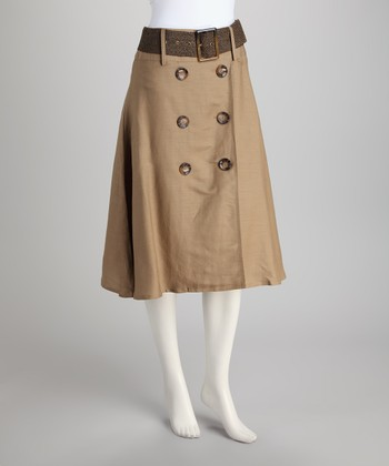 Shearling Button Belted Skirt