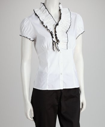 White & Black Ruffle Button-Up