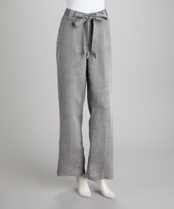 Black & White Linen-Blend Trousers