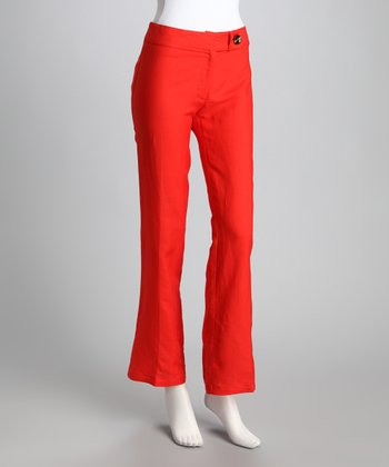 Tomato Button Bootcut Pants
