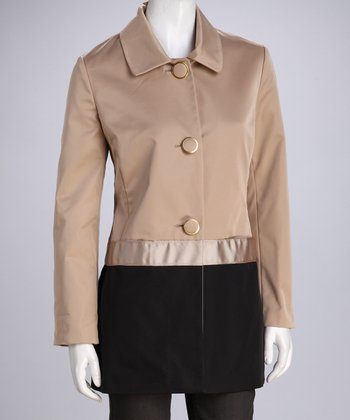 Khaki & Black Color Block Coat - Women