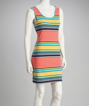 Yellow & Coral Stripe Sleeveless Dress