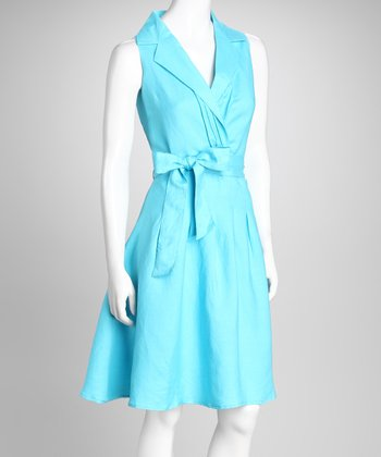 Teal Surplice Dress