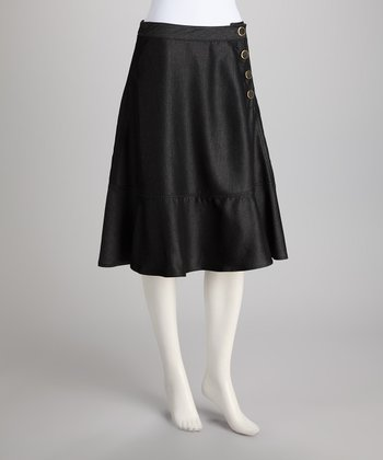 Black Side Buttoned Skirt