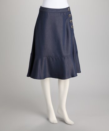 Navy Side Button Skirt