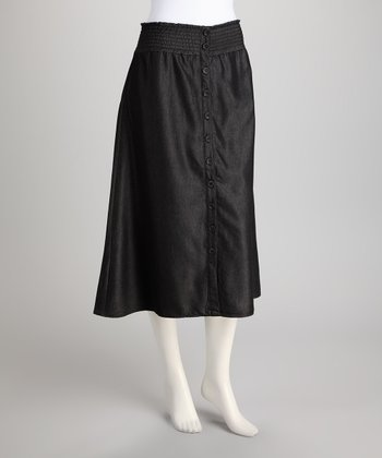 Black Shirred Skirt
