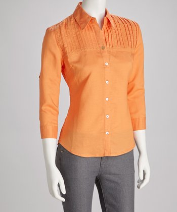 Persimmon Pleated Button-Up