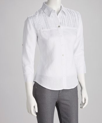 White Pleated Button-Up