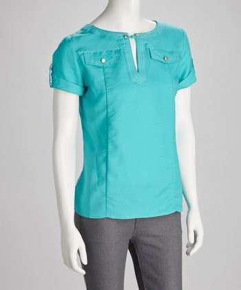 Turquoise Epaulette Short-Sleeve Top