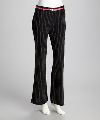 Black & White Pinstripe Linen-Blend Flare Pants