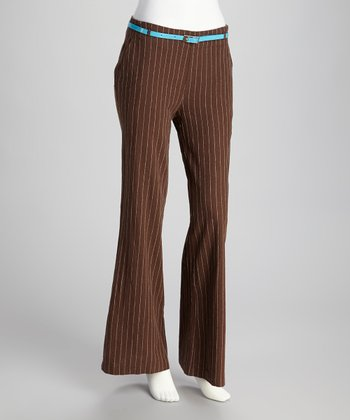 Brown & White Pinstripe Linen-Blend Flare Pants