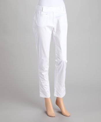 White Straight-Leg Trouser Pants