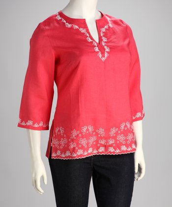 Coral Embroidered Plus-Size Top