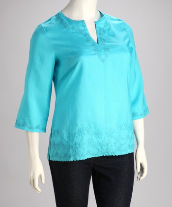 Turquoise Embroidered Plus-Size Top