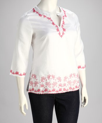 White Embroidered Plus-Size Top