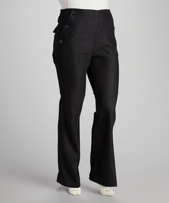 Black Denim Plus-Size Sailor Pants
