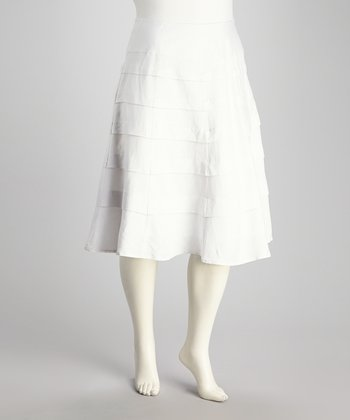 White Pleated Plus-Size Skirt