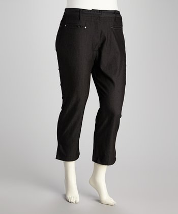 Black Denim Plus-Size Capri Pants