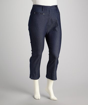 Navy Denim Plus-Size Capri Pants