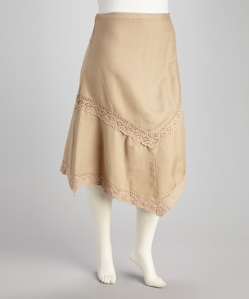 Khaki Lace Plus-Size Handkerchief Skirt