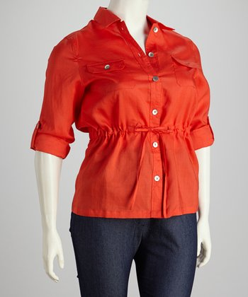 Tomato Drawstring Button-Up - Plus