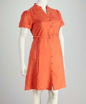 Joy Mark Guava Orange Belted Plus-Size Button-Up