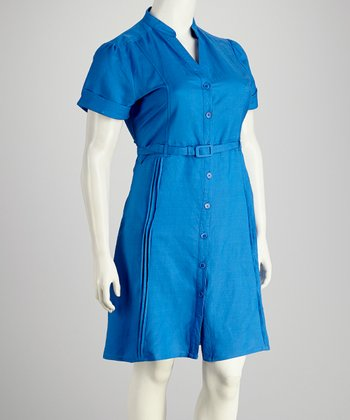 Royal Belted Plus-Size Button-Up Dress