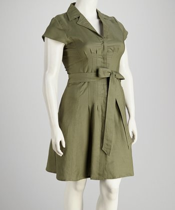 Olive Pleated Plus-Size Short-Sleeve Dress