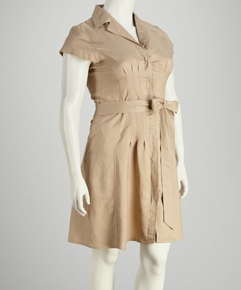 Khaki Pleated Short-Sleeve Dress - Plus