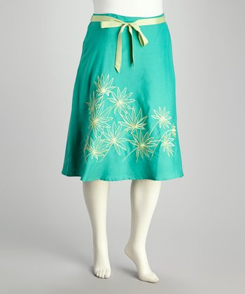 Mint & Gold Embroidered Plus-Size Skirt