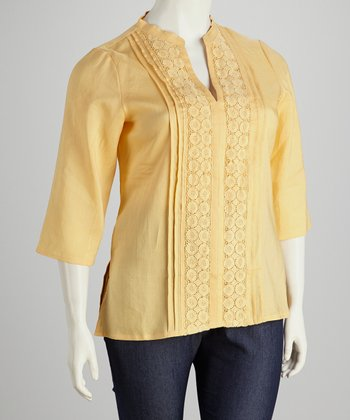 Apricot Crocheted Plus-Size Tunic